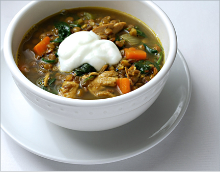 , chicken and plenty of spices, this crowded Curried Lentil Soup ...