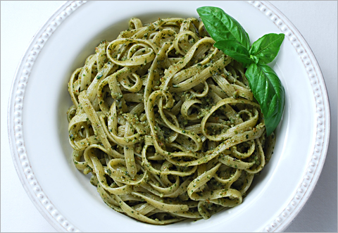 Fettuccine with Pecan Pesto