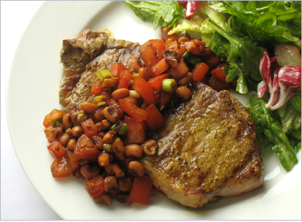Curried Steaks with Black-eyed Pea Salsa