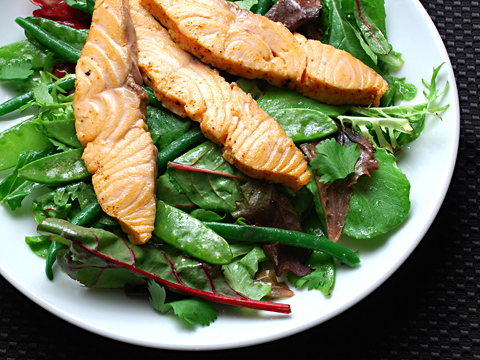 Seared Salmon with Mixed Greens