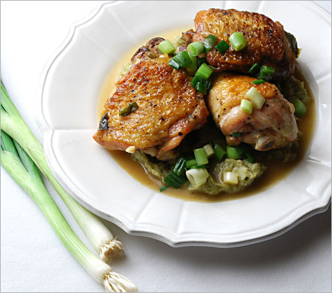 Braised Chicken with Scallion Purée