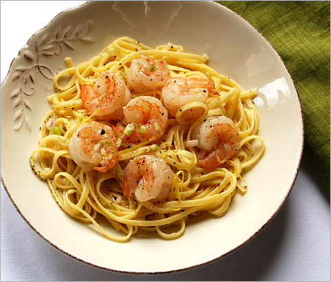 The milder side of garlic: Linguine with green garlic and shrimp
