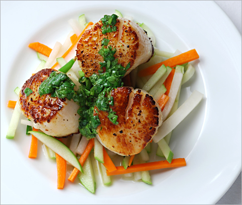 Scallops With Cilantro Sauce And Asian Slaw Recipe — Dishmaps