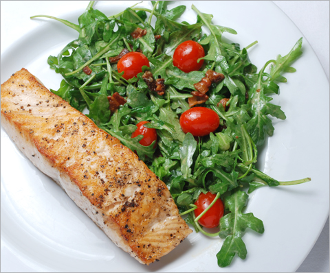salmon-arugula-bacon