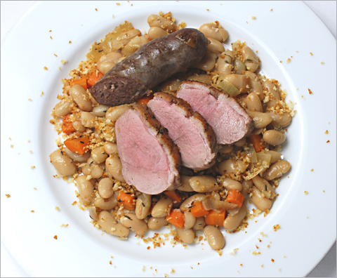 Duck Breasts with White Beans and Sausage