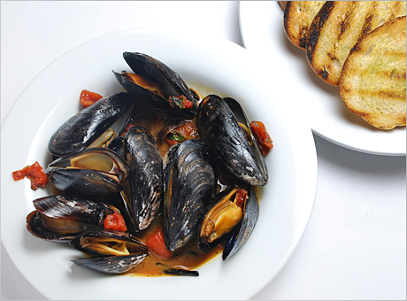 Baked Mussels with Saffron and Tomatoes, Off the Menu