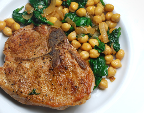 ... in the key of winter: Pork Chops with Chickpeas, Spinach and Cumin