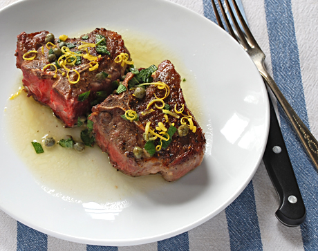 Pan Seared Lamb Chops with Lemon Caper Sage Butter