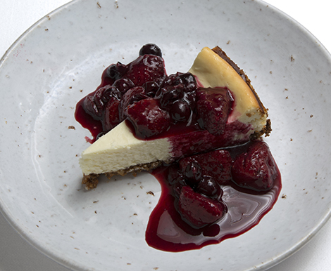 chevre cheesecake and compote