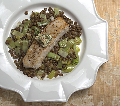 hake with lentils mustard butter