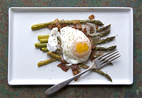 Roasted Asparagus with Poached Egg and Lardons
