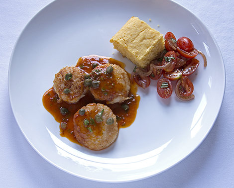 Scallops with Smoky Chipotle Butter, Tomato Salad and Cornbread, Bobby Flay