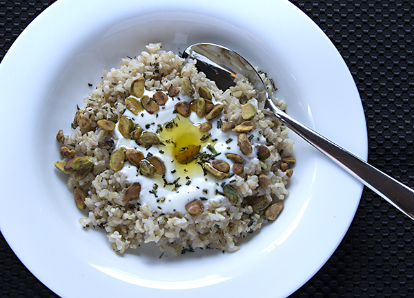 Savory Yogurt with Brown Rice and Pistachios