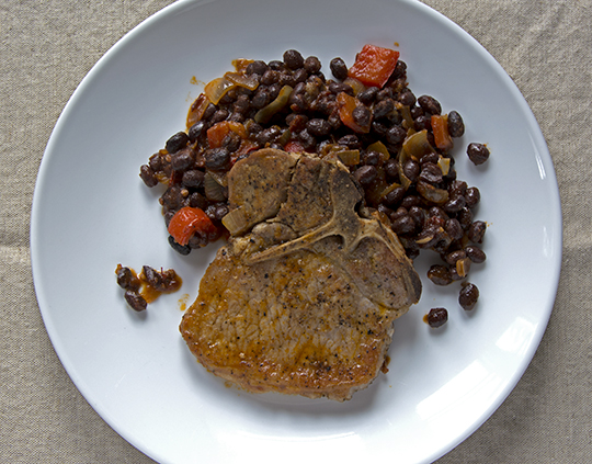 Pork Chop and Chipotle Black Beans