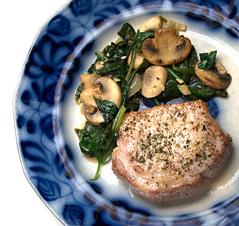 Pork Recipes: Pork Chops with Mushrooms and Spinach