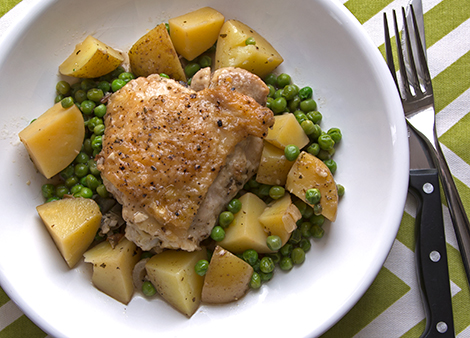 Braised Chicken with Potatoes and Peas