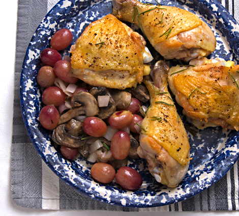 Roasted Chicken with Grapes, Mushrooms and Shallots