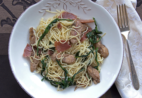 Capellini with Dandelion Greens, Prosciutto and Chicken