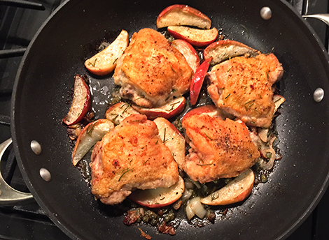 Chicken Recipes: Roasted Chicken Thighs with Apples and Capers