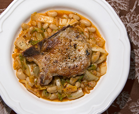 Pork Chops with Kimchi and Cannellini