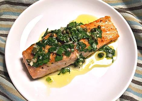 Salmon with Parsley Lemon Sauce