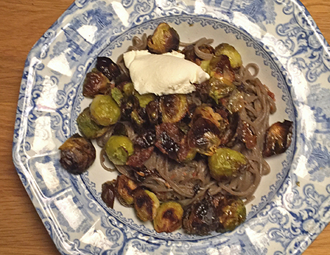 Brussels Sprouts with Bacon Jam and Udon Noodles