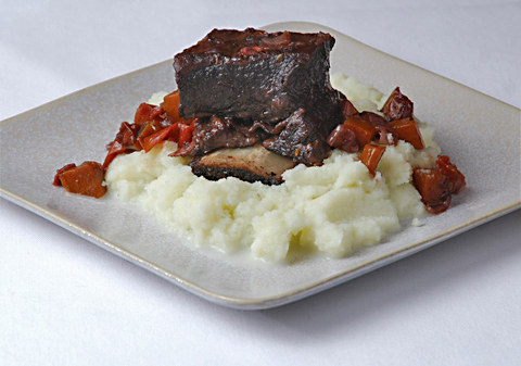 Wine-braised Short Ribs with Puréed Cauliflower