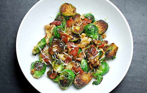 Mustard Maple Glazed Brussels Sprouts With Bacon
